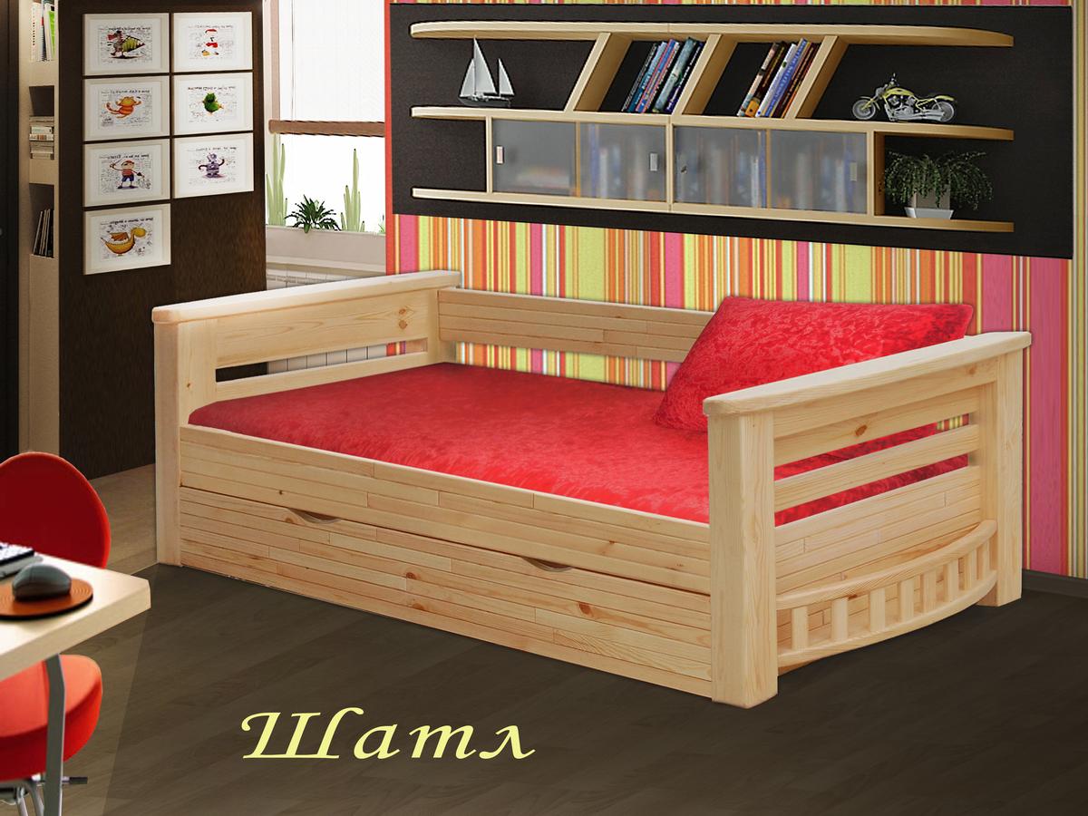 Фото Кровать детская одноярусная Шатл (с ящиками)